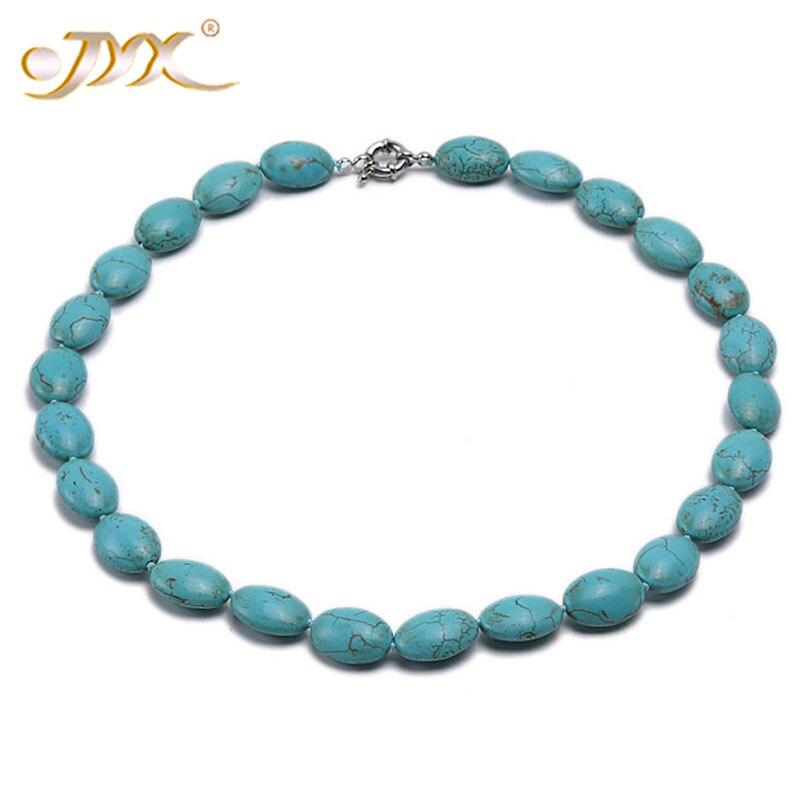 "JYX 18*13mm azul ovalado turquesa collar mujeres moda turca joyería mamá collar joyería 19 ""(48cm)"