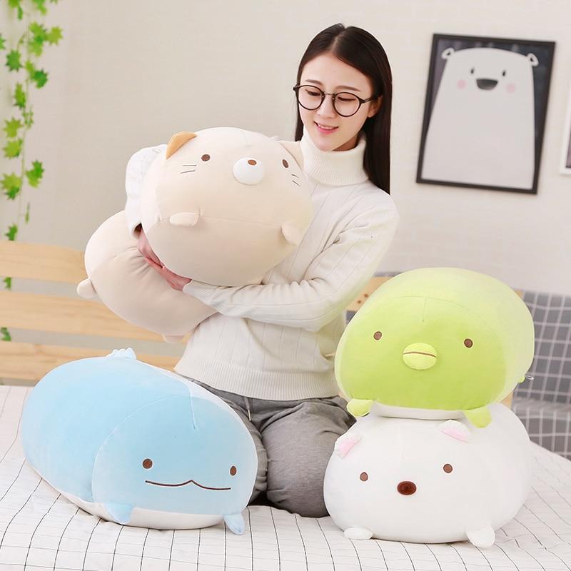 1 piezas 60cm precioso Japón dibujos animados Animal Esquina de juguete de felpa biológico cosas muñeca suave almohada vacaciones regalos para los niños