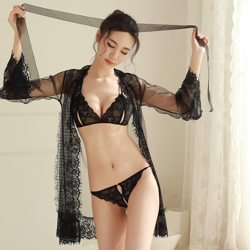 Sexy Lace Robe Lady porno ver a través de lencería albornoz con sujetador conjunto mujeres porno Albornoz dama de honor traje conjunto ropa interior Mujer