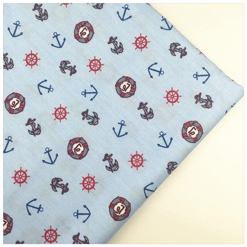 Syunss,Blue Back Marine Elements Print Cotton Fabric DIY Tissu Patchwork Telas Sewing Baby Toy Bedding Quilt Cloth Craft Tecido