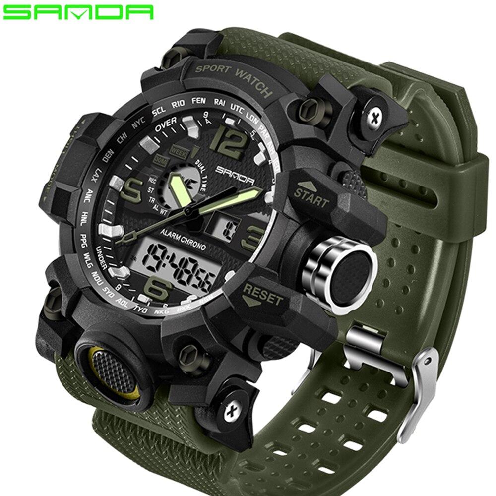 Reloj deportivo militar para hombre de marca G de lujo SANDA, reloj digital LED resistente al agua para hombre
