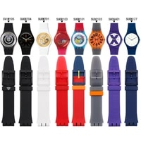 silicone strap mens watch accessories pin buckle 19mm for swatch suob704 suoz147suow701 sports waterproof strap watch band