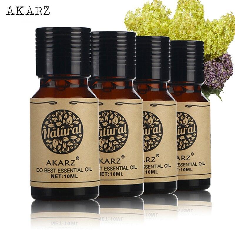 AKARZ Helichrysum Frangipani Verbena aceite esencial de Laurel paquete para aromaterapia, masaje, Spa, baño 10ml * 4