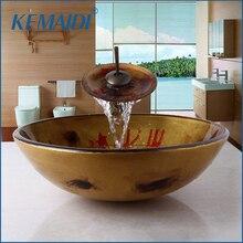 KEMAIDI lavabo de baño de estilo étnico, lavabo de vidrio pintado a mano, grifo de fregadero, grifo de desagüe emergente, mezclador de grifo de latón combinado