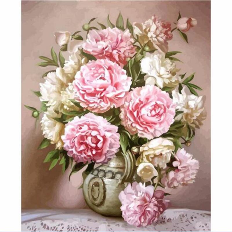 Las más nuevas flores rosadas Diy Kits por números de pintura al óleo cuadro de arte de pared decoración del hogar pintura acrílica sobre lienzo para arte