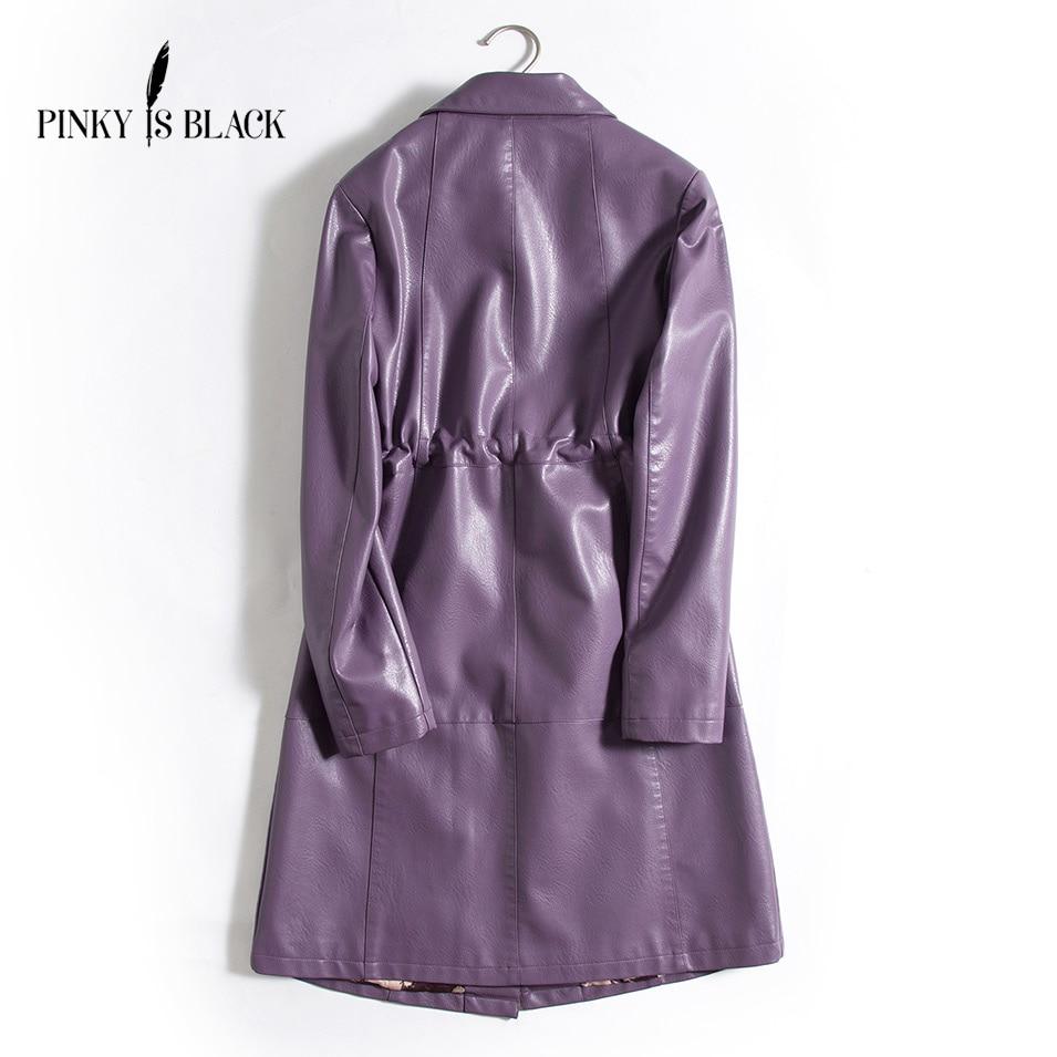 Pinky Is Black 2019 New Elegant Autumn Winter Leather Jacket Women Medium Long Red PU Leather Coat Ladies Slim Motorcycle Jacket enlarge