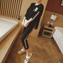 2 Pcs/Set Casual T-shirt Pant Set Side Stripe Short Sleeve Woman Tops+ Pants