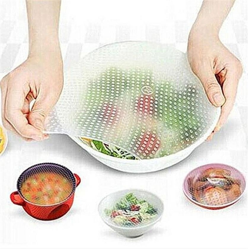 4Pcs/Lot Clear Reusable Silicone Food Wraps Seal Cover Stretch Multifunctional Fresh Keeping Saran Wrap Kitchen Tools [3]