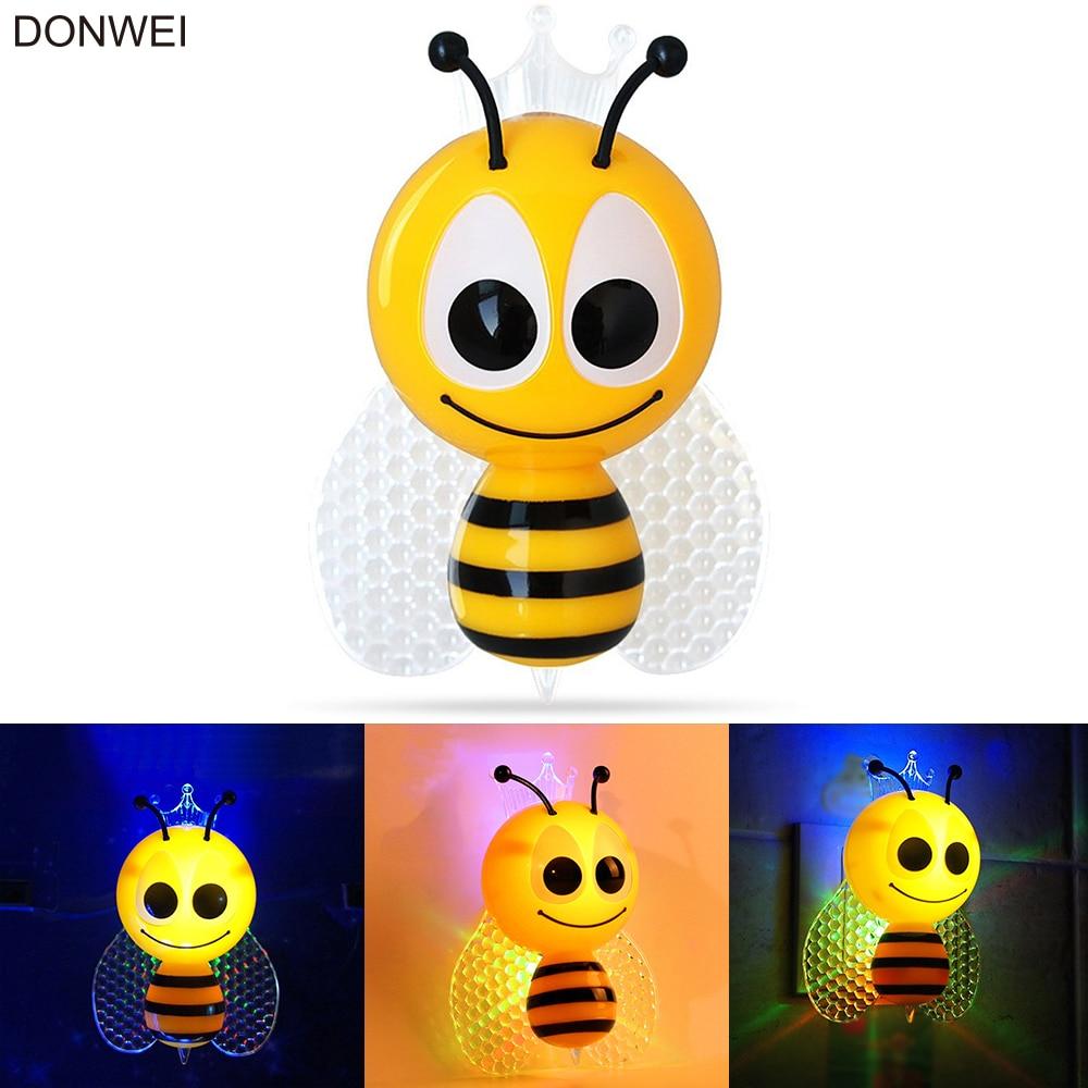 Light Sensor Cartoon Bee LED Night Light Cute Colorful EU Plug Bedside Lights for Baby Bedroom Children's Gifts