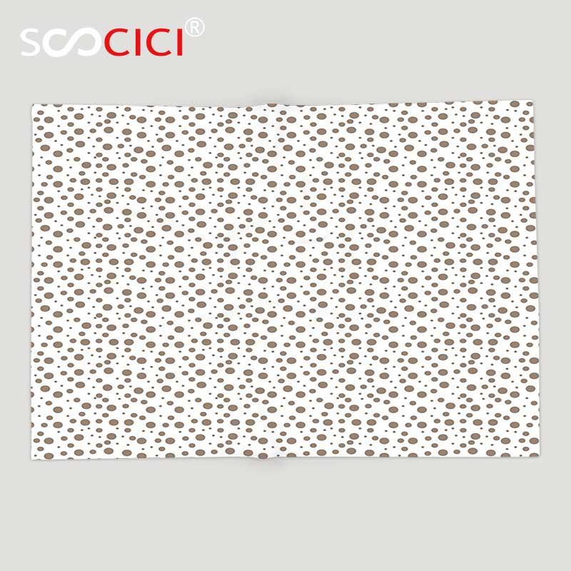 Manta de lana suave personalizada, marrón, gota Grande y Pequeña como puntos en fondo blanco, diseño Vintage de estilo antiguo