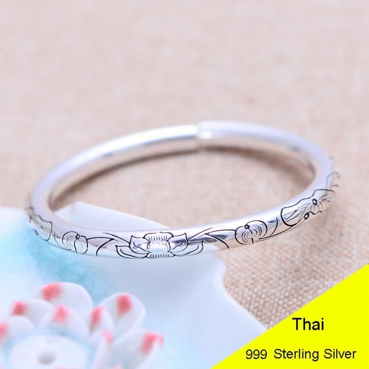100% genuino 999 plata de ley brazalete abierto hoja de loto mujeres tailandesa plata joyería fina regalo CH053522