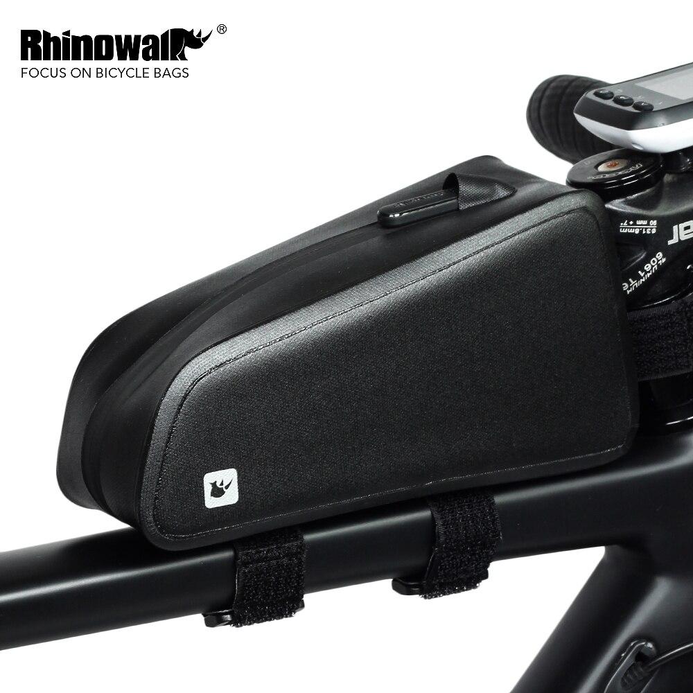 Rinowalk MTB cuadro delantero de bicicleta bolsas bolsa de tubo de ciclismo impermeable de gran capacidad de la bici de carretera Panter Phone Case negro RK18330