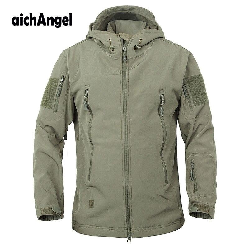 Abrigo de camuflaje del ejército chaqueta táctica militar hombres suave Shell impermeable chaqueta de invierno con capucha