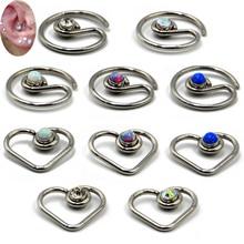 1pc Opal CZ Gem Daith Heart Round Bendable Ring Ear Tragus Cartilage Earring Heart Ear Studs Ear Ring Piercing Body Jewelry 16G