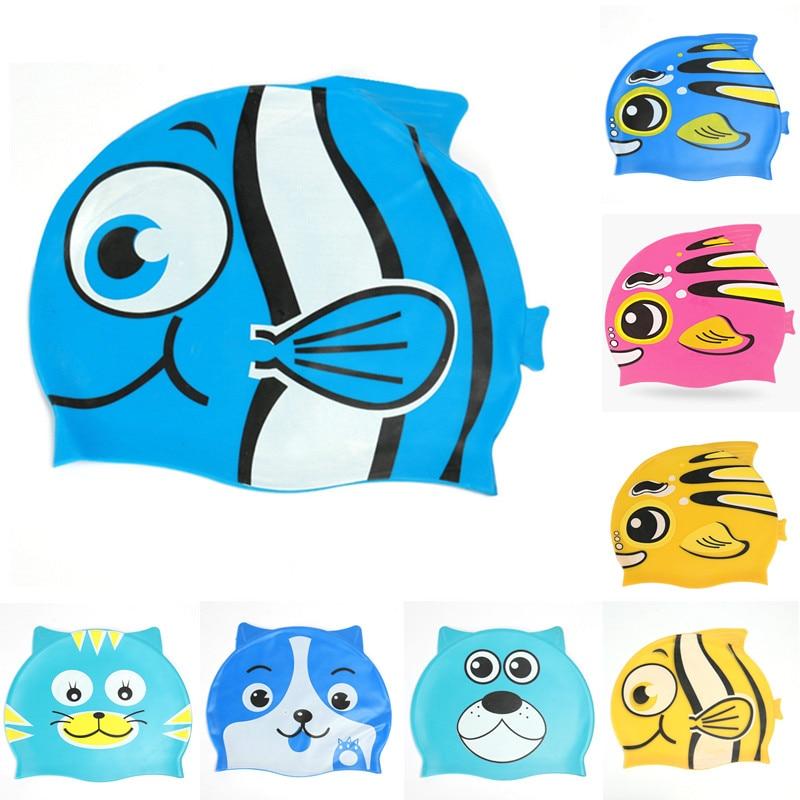 Adorable dibujo pez gorro de baño infantil de silicona Flexible impermeable largo protección del oído piscina natación buceo gorro para la cabeza