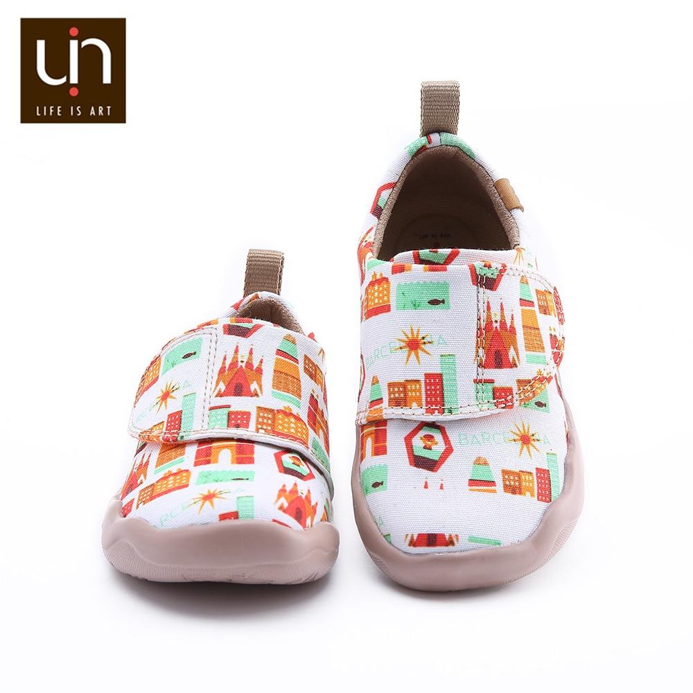 UIN Art City Design Little Kids أحذية رياضية سهلة هوب وحلقة حذاء كاجوال للأولاد/البنات موضة الشقق