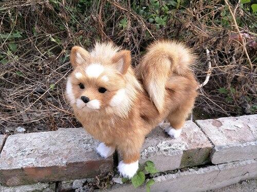 Gran simulación perro polietileno y pieles lindo Pomeranian muñeca regalo alrededor de 28x25 cm 221