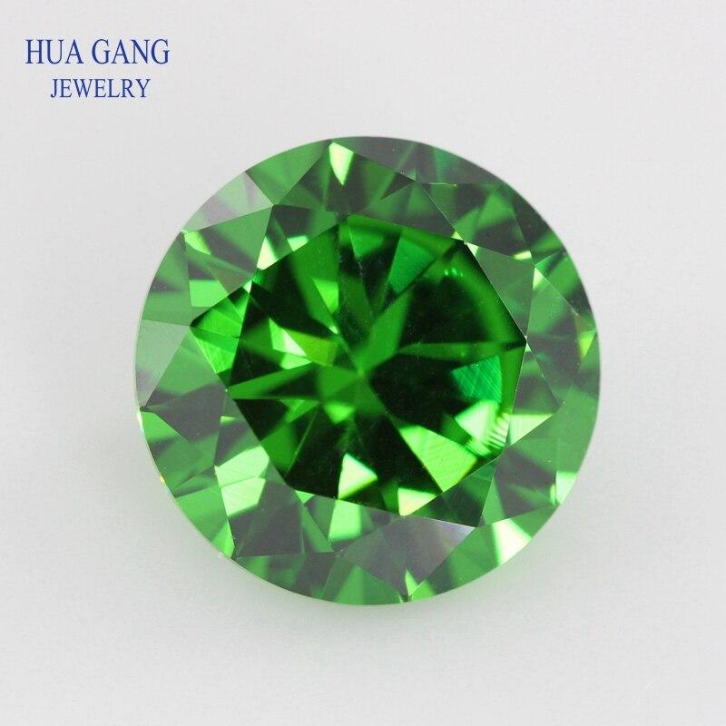 Verde zircônia cúbica 0.8 12 12mm forma redonda 5a brilhante corte solto cz pedra pedras preciosas sintéticas contas para jóias frete grátis