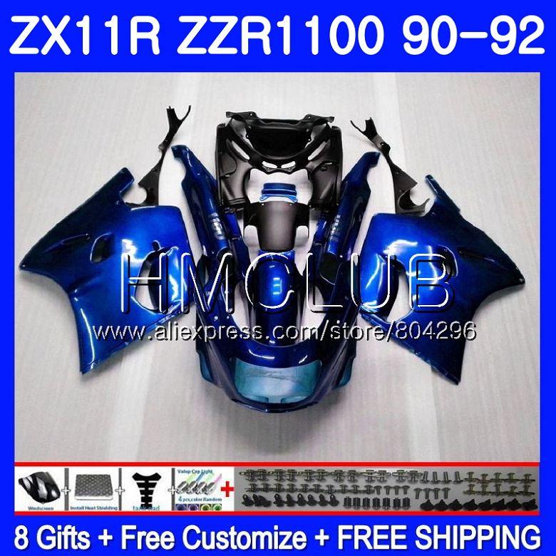 Körper Für KAWASAKI NINJA ZX-11R ZZR 1100 ZX11R 90 91 92 13HM.20 ZZR1100 ZX11 R ZX-11 R ZX 11R Glänzend blau 1990 1991 1992 Verkleidung