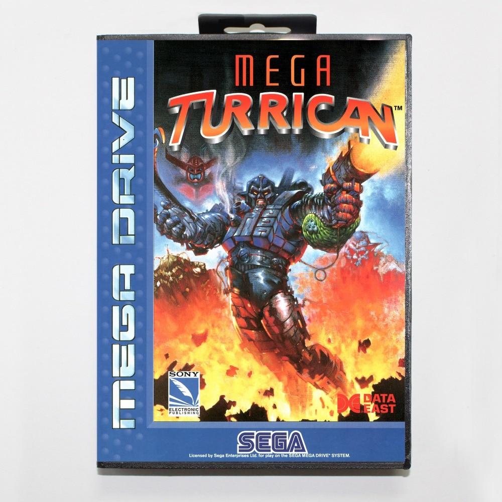 Mega turrican 16 poco SEGA tarjeta de juego MD con caja de...