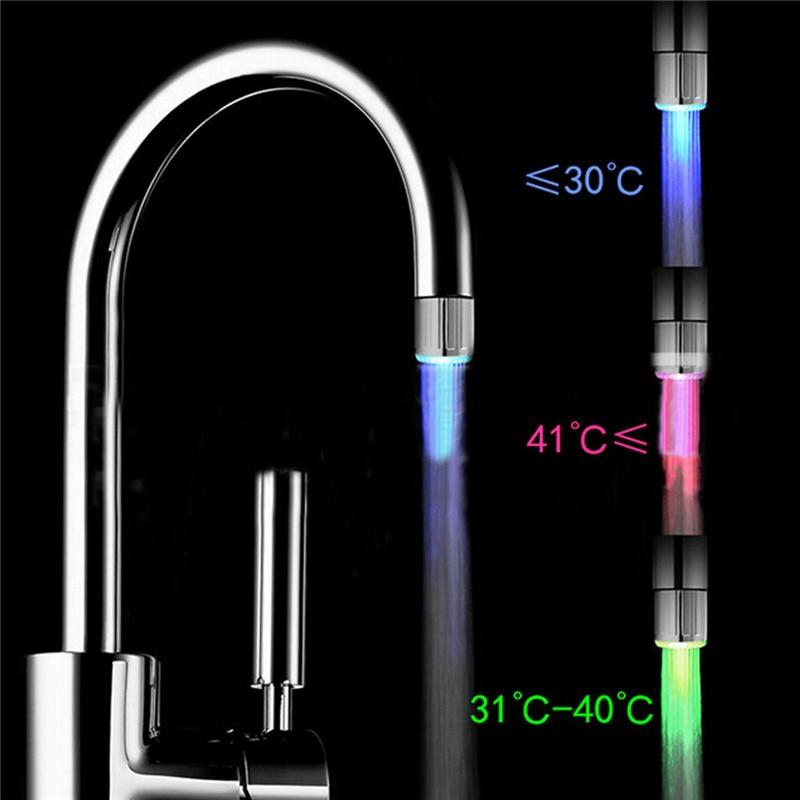 Luz LED de colores RGB de 3 colores, grifo resplandeciente, decoración de baño para el hogar, grifo de agua de acero inoxidable