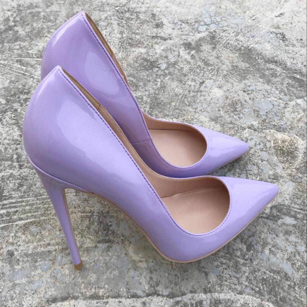 Kebangjia, zapatos de tacón Morado para mujer, zapatos de tacón alto de 12cm y 10 cm, zapatos de boda sexis de charol a la moda