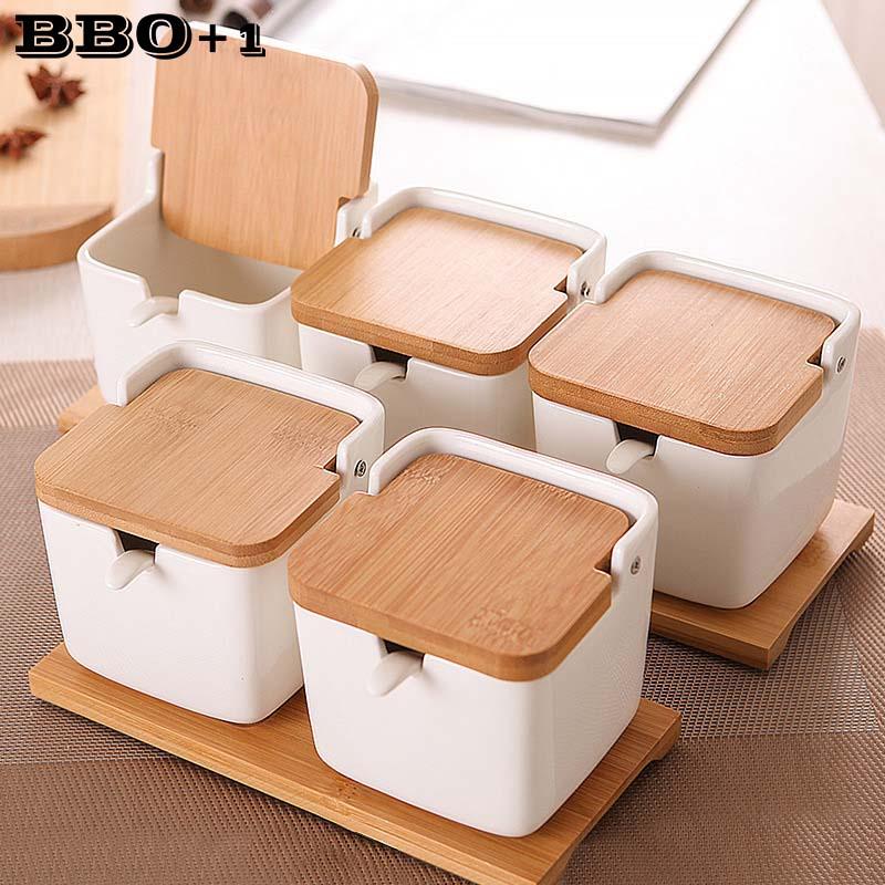 Kitchen Spice Pot Porcelain Sugar Salt Storage Pepper Jars Container Lid Spoon Box Ceramic Bamboo Cover Condiment Seasoning Rack