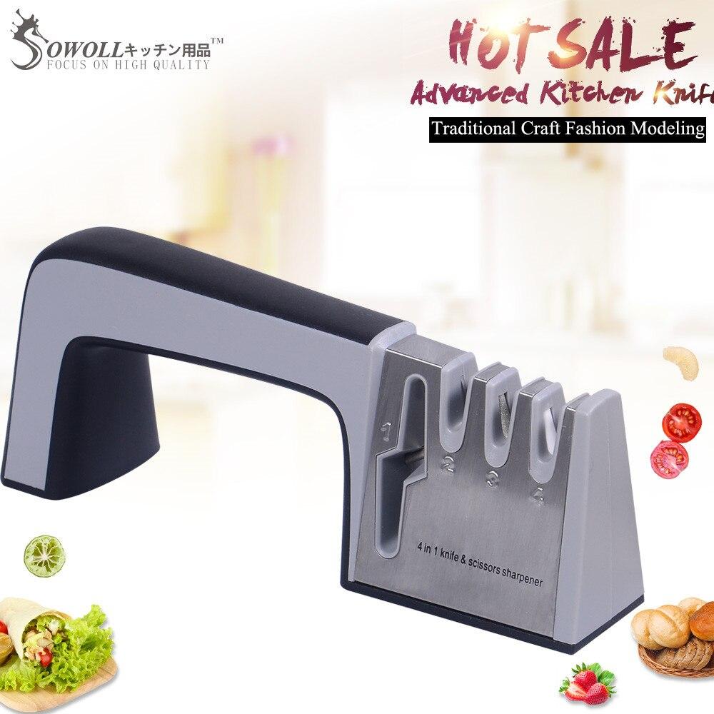 SOWOLL, профессиональные точильные инструменты, ножницы, 4 в 1, точилка, камень, кухонный аксессуар, поварские ножи, точилка, кухонная принадлежность