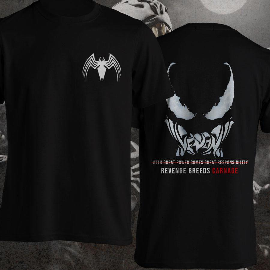 Venom Carnage citas negro Spiderman citas parte trasera delantera camiseta hombres 2019 nuevas camisetas de impresión Cool camisetas