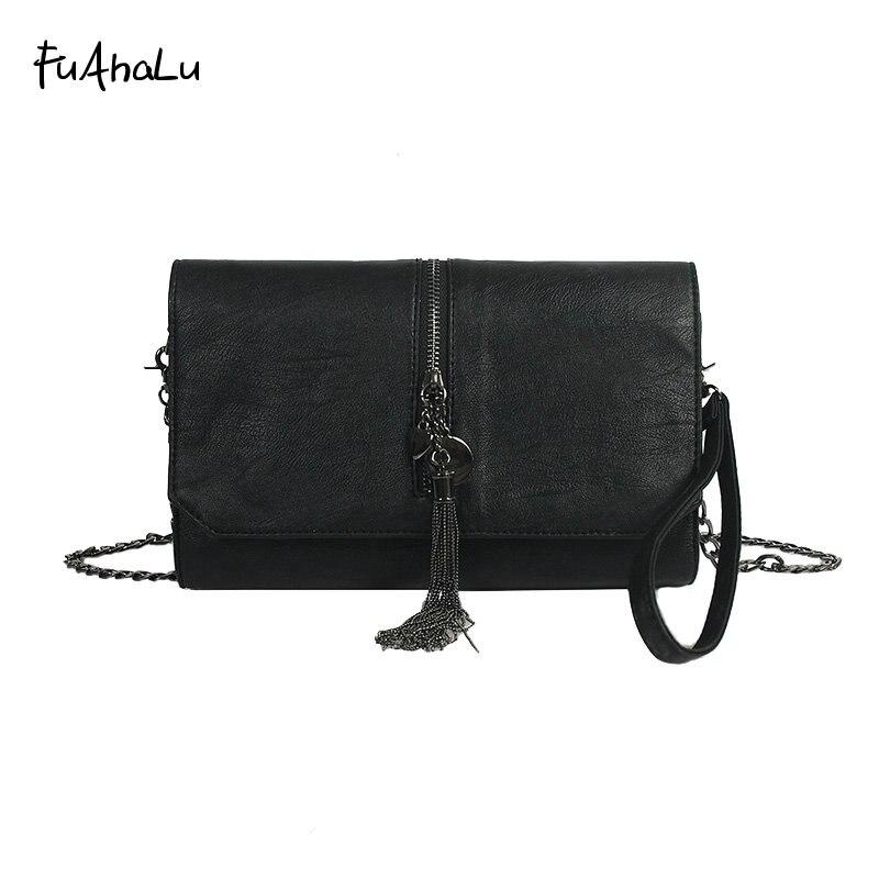 FuAhaLu new fashion tassel personality chain shoulder Messenger bag