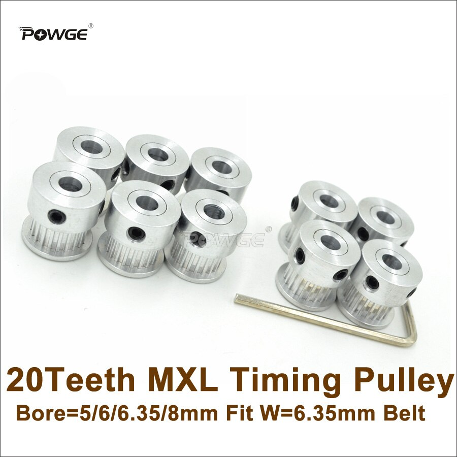 POWGE 20pcs 20 Teeth MXL Timing Pulley Bore 5/6/6.35/8mm Fit W=6.35mm MXL Belt 20T 20Teeth MXL Pulley 3D Printer DIY Ultimaker