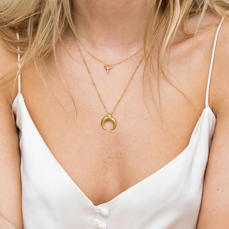 Collar de plata de ley 925 plateada, colgante de media luna de oro con textura creativa, elegante collar femenino, joyería de plata 925