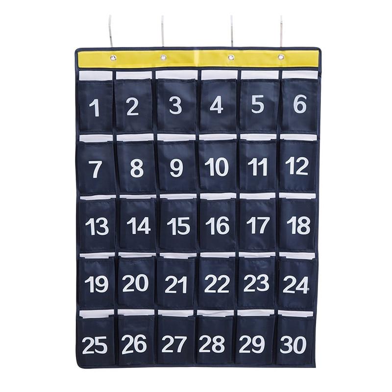 30 bolsillos aula carta de bolsillo para almacenamiento de teléfonos móviles con 4 ganchos