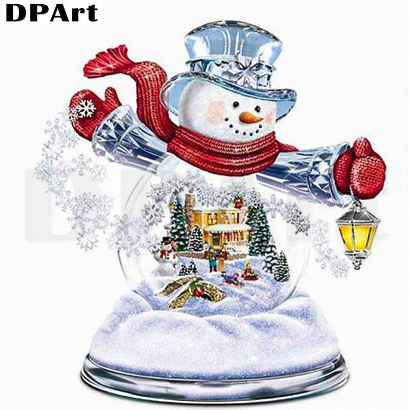Cuadro de diamantes cuadrado completo/redondo taladro Navidad muñeco de nieve bola de cristal 5D Daimond pintura bordado Cruz Rhinestone Zou186