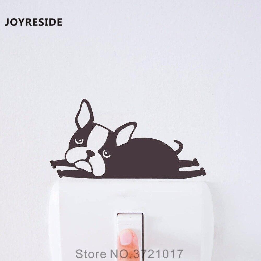 Joyresin, Bulldog francés, bonito perro, divertido interruptor de luz, pegatina de vinilo para pared pequeña, pegatina de vinilo, decoración artística para habitación infantil, decoración del hogar XY155