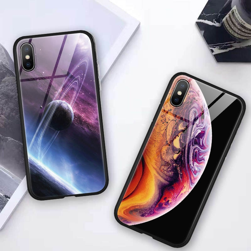 Espacio de vidrio templado para iphone 7 7 6 6S Plus XR X XS X Max Coque para Meizu 16X 16 para Samsung Galaxy S8 S9 caso Plus