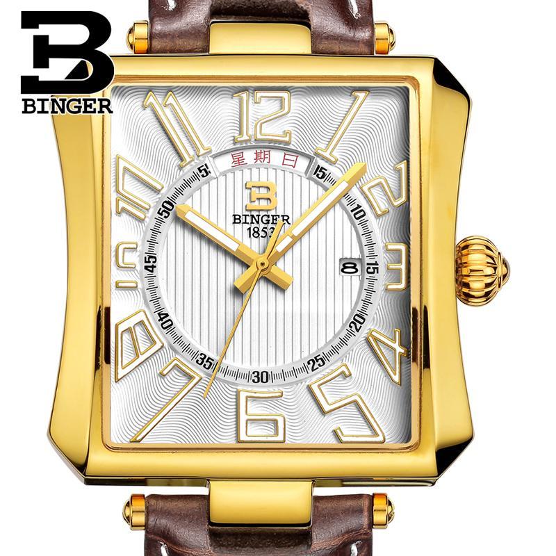 سويسرا بينجر ساعة رجالي العلامة التجارية الفاخرة Tonneau الكوارتز مقاوم للماء حزام من الجلد ساعات المعصم B3038-4