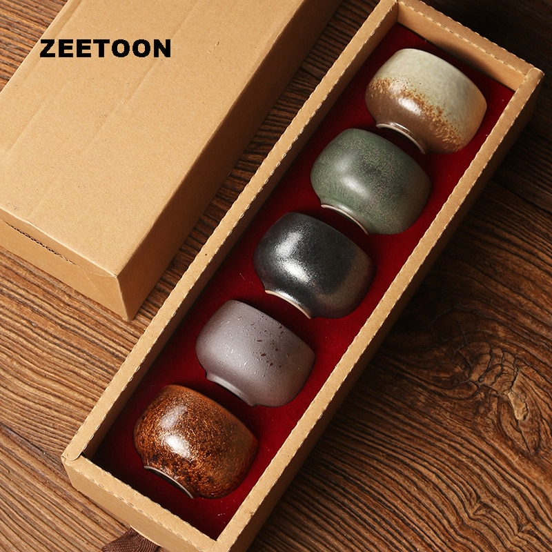 50ml-100ml caja de regalo taza de té cerámica Vintage estilo japonés taza de té Maestro de oficina pequeños tazones de té taza de agua taza de té
