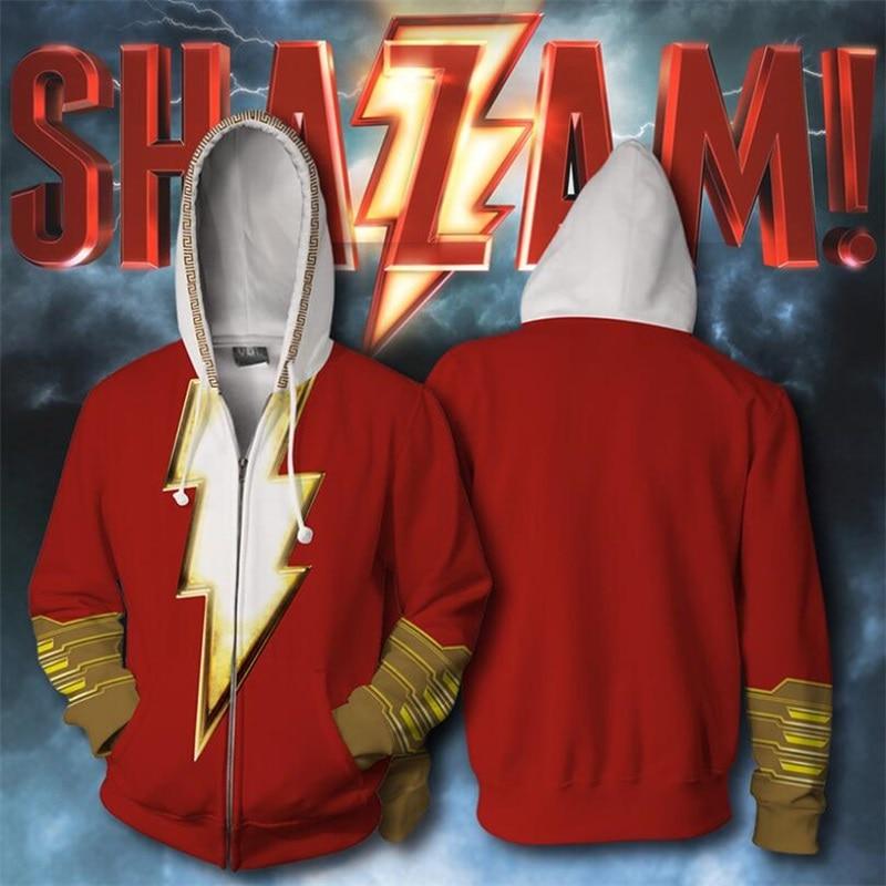 Superhéroe capitán Shazam Billy Batson Sudaderas con capucha de impresión 3D sudaderas Cosplay con capucha chaqueta de abrigo Casual