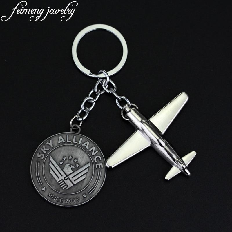 Nos modelo de aerolíneas llavero Boeing modelo cadena de moda de la moneda carta cielo alianza avión Aircrafe regalo para hombres