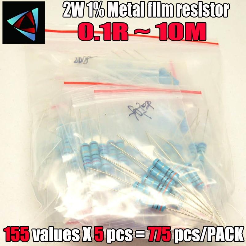 775 قطعة 2W 1% 155valuesx5pcs 0.1R ~ 10M 1% المعادن مقاوم من غشاء حلو كيت