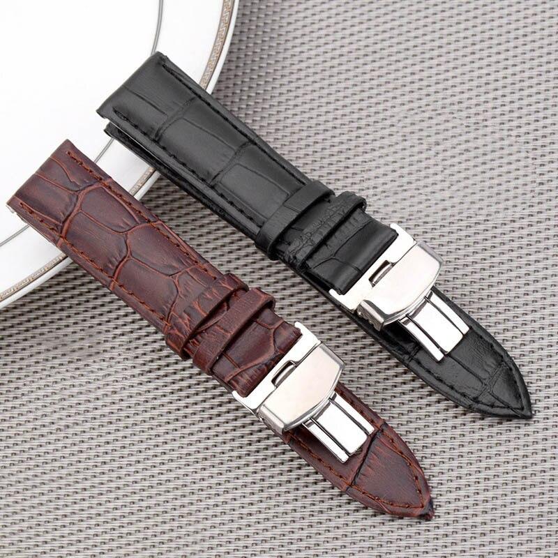 BUMVOR Leather Watch Band Strap Borboleta Deployant Buckle 18mm 20mm 22mm 24mm Relógio Fecho de Metal Polido acessórios