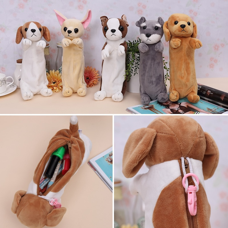 2018 Plush Toy Cute Pencil Case for kids Animal Doll Dogs Xmas&Birthday Gifts