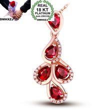 OMHXZJ Wholesale European Fashion Woman Girl Party Wedding Gift Ruby AAA Zircon 18KT Rose Gold Necklace Pendant Charm CA193