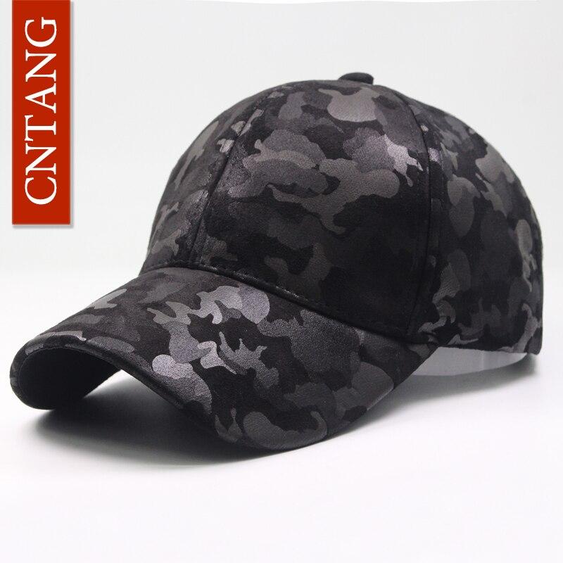 CNTANG-casquette de Baseball en cuir suédé PU   Casquette de Camouflage, mode hommes, chapeau Snapback Hip Hop unisexe casquettes réglables marque