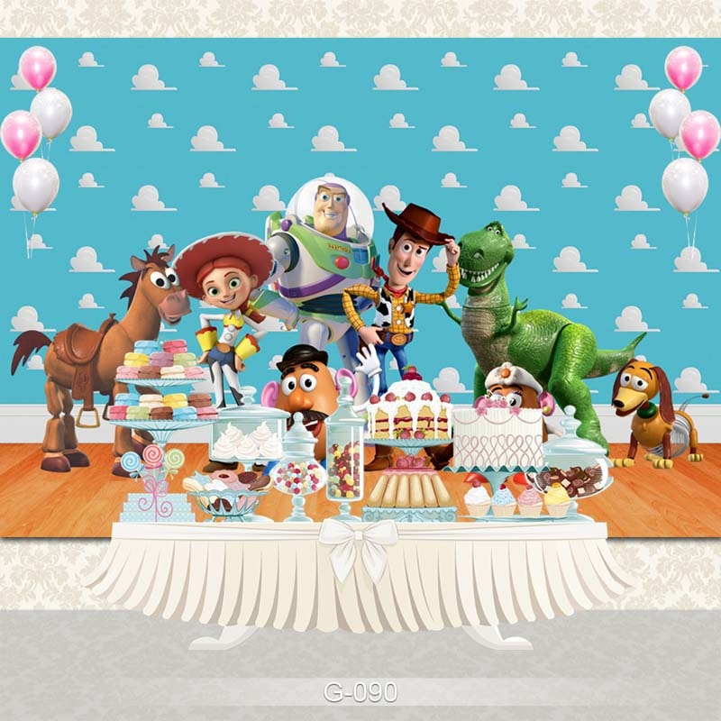 O fundo do estúdio da festa de aniversário das crianças dos doces da história do brinquedo dos desenhos animados do vinil personaliza fundos para o estúdio da foto