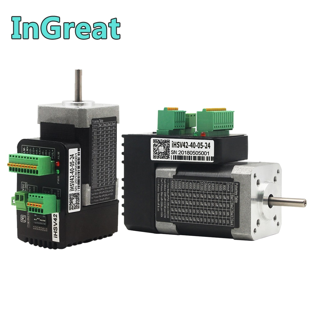 JMC 52W Integrated Servo NEMA17 4000RPM 3PH 42mm 0.125Nm 24VDC DSP Hybrid Closed Loop Motor Driver Encoder for AGV Robot Hand