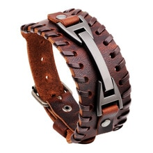 Trendy Brown Punk Genuine Leather Bracelets Bangle Belt Buckle Warp Bracelet Men Vintage Jewelry Christmas Gift WYQR2366
