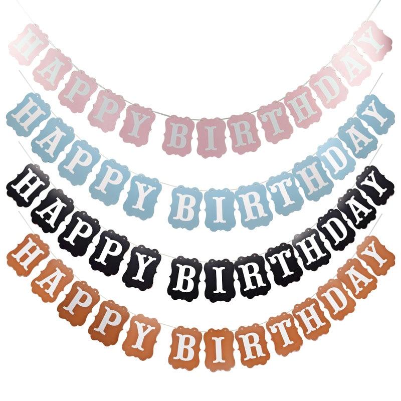 Banderines con diseño de feliz cumpleaños 1 Uds., guirnalda de papel colgante para niños, banderines para Baby Shower, decoración de cumpleaños para niños y niñas, recuerdos para fiesta