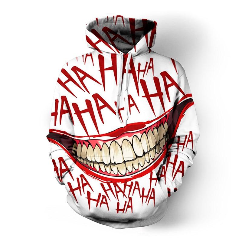 Soshirl haha joker engraçado hoodie dia das bruxas louco sorriso pulôver manga longa moletom moda stree casacos legal unisex sportwear